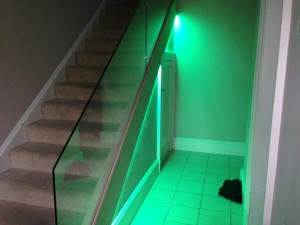 free standing glass balustrade with led lights