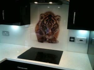 white splash backs with tiger logo