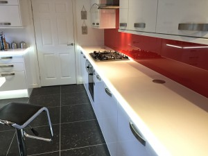 white corian with led fitted into the front face