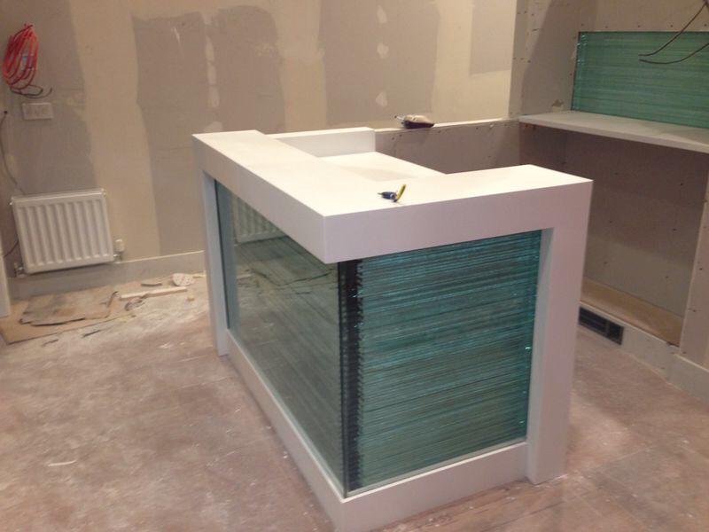 Desk made of Corian and glass